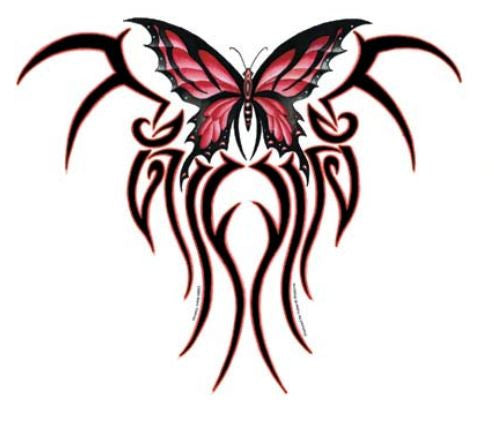 Red Tribal Butterfly Sticker - Large Window Sticker