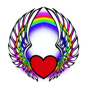Rainbow Winged Heart Temporary Tattoo