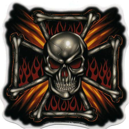 Large Tribal Flames Cross Chrome Skull Sticker