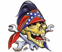 Wrench Crossbones Smokin Rebel Skull Sticker