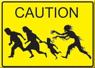 Zombies Crossing Street Sign Zombie Car Magnet