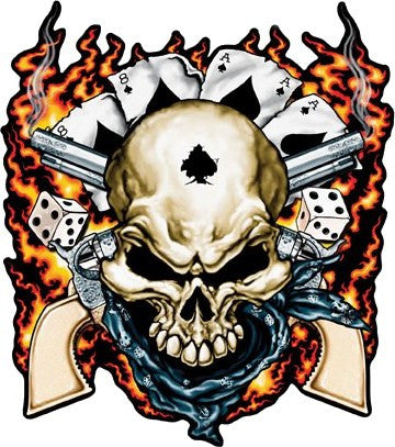 Dead Mans Hand Aces High Cowboy Skull Sticker