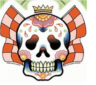 Racing Flag Candy Sugar Skull Sticker