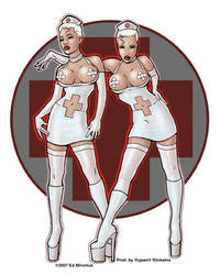 Naughty Nurses Pin-up Sticker