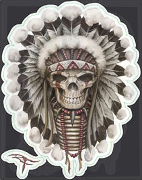 Mini Tribal Indian Chief Skull Sticker