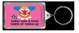 Waste of Makeup Clown Keychain