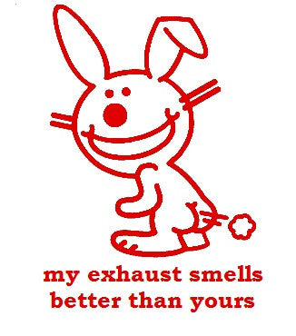 Happy Bunny Exhaust Sticker