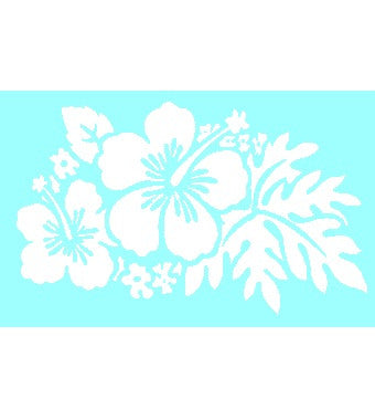 White Hibiscus Flowers Window Sticker
