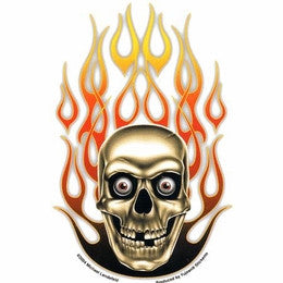 Psycho Flames Skull Sticker