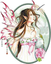 Dragonfly Pink Rose Morning Dew Flower Fairy Sticker