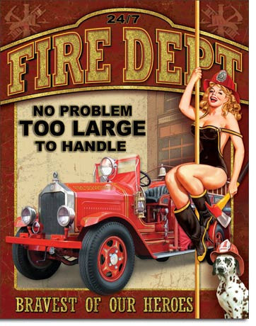 Retro Pin-up Girl Tin Sign #3 Sexy Fire Fighter Pin-up