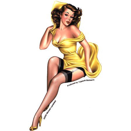 Retro Pin-up Girl Sticker #1 Rose