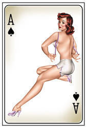 Aces of Spades Pin-up Postcard