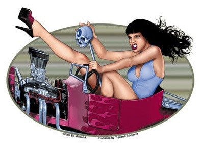 Hot Chick Pin-up Sexy Hot Rod Sticker