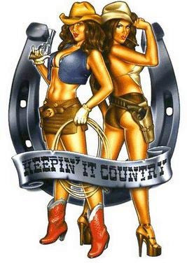 Flirty Cowgirls Sexy Pin-up Girl Sticker