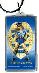 Hot Lady Cop Pin-up Girl Keychain
