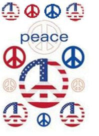 Sparkly Patriotic Peace Stickers Scrapbooking Rub-ons