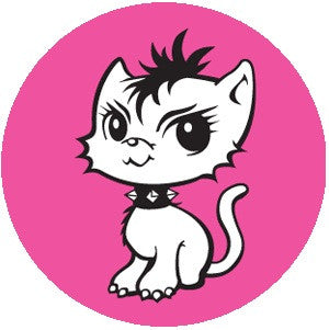 Bad Kitty Button #1 Pink/ Black Mohawk Kitten