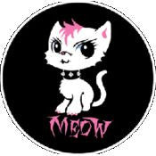 Bad Kitty Button #3 Pink Mohawk Kitten
