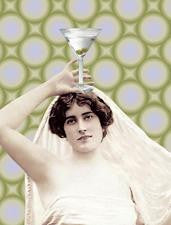 Bride to be Bachlorette Party Greeting Card Martini Girl