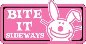 its Happy Bunny Sticker #1 Pink Bite it Sticker