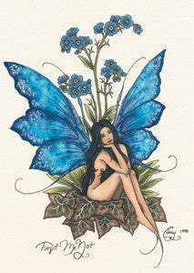 Amy Brown Fairy Art Postcard #4 Forget Me Not Blue Fairy