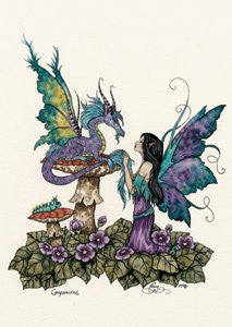 Fairy Dragon Art Postcard by Amy Brown
