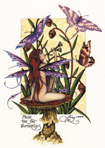 Amy Brown Fairy Art Postcard #3 Music for the Butterflies