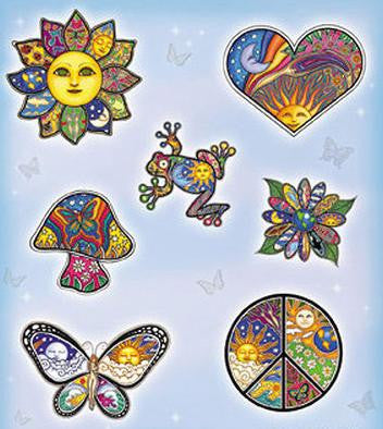 Dan Morris Hippie Peace Cell Phone Stickers