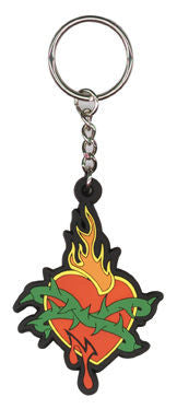 Tattoo Art Flaming Heart Keychain
