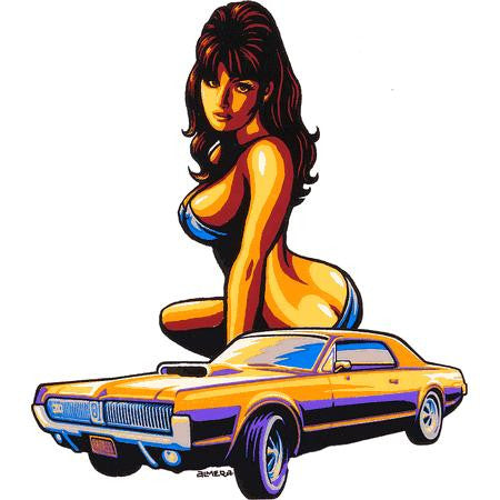 Sexy Hurley Pin-up Girl Muscle Car Sticker