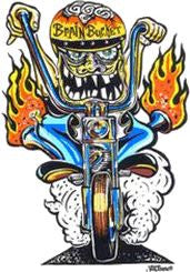 Brain Bucket Monster Chopper Sticker