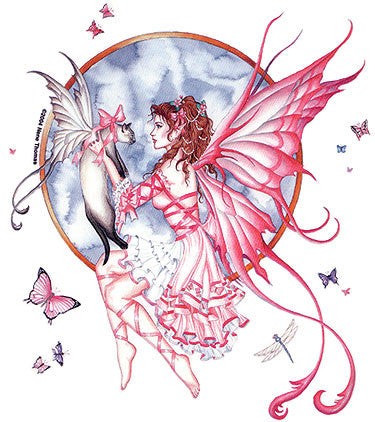 Romantic Pink Magical Fairy Cat Sticker