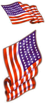 American Flags USA Decals Set