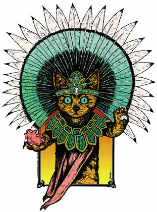 Mayan Turquoise Aztec Cat Sticker