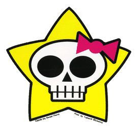 Yellow Star Goth Skull Sticker