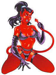 Large Naughty Devil Woman Pin-up Girl Sticker