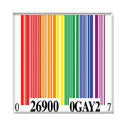 Bar Code Square Rainbow Pride Button