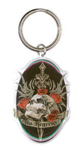 Skull and Roses No Regrets Rebel Skull Keychain