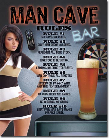 Sexy College Girl Rules Man Cave Sign
