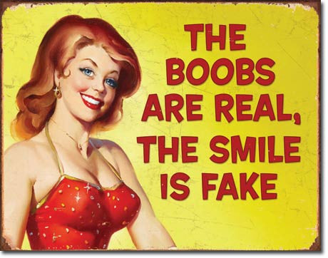 Sexy Flirty Real vs.Fake Pin-up Tin Sign