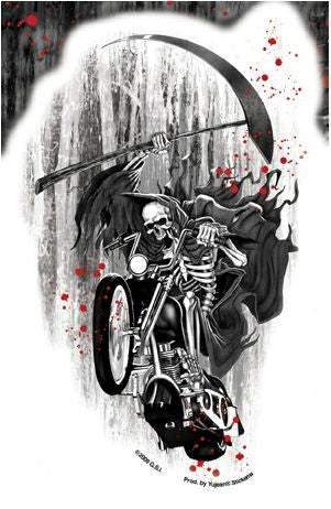 Blood Splatter Biker Reaper Sticker