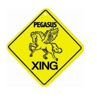 Caution Pegasus Crossing Air Freshener