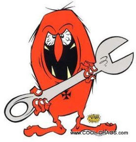 Freaky Red Wrench Gremlin Sticker