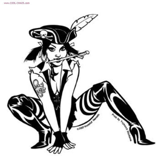 Sexy Pirate Pin Up Girl Sticker Cool Chaos Com