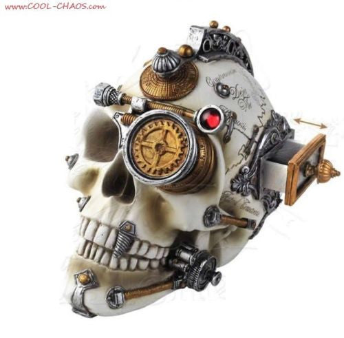 Alchemy Gothic Awesome Steampunk Skull Statue