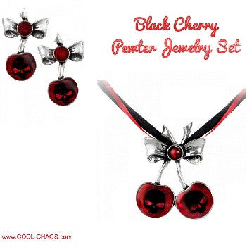 Black Cherries Earrings Pair+Black Cherry Pewter Pendant Ribbon Necklace