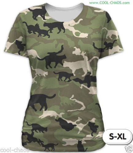 Cat Camo T-Shirt / Juniors Sublimated Crazy Graphic Tee