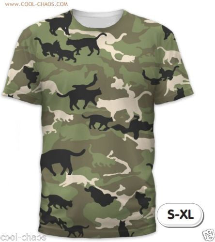 Cat Camo T-Shirt / Men's Crazy Graphic Tee