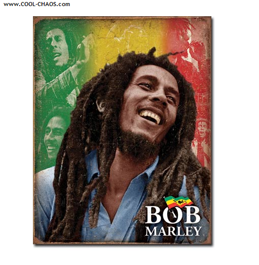 Bob Marley Tin Sign / One Love, Rasta Colored Bob Marley Sign